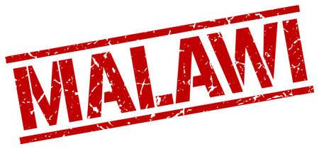 malawi: Malawi red square stamp Illustration