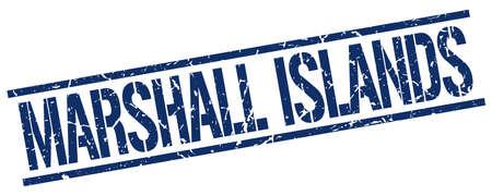 marshall: Marshall Islands blue square stamp