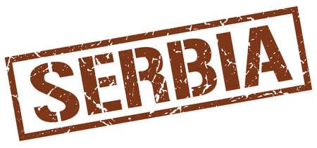 serbia: Serbia brown square stamp
