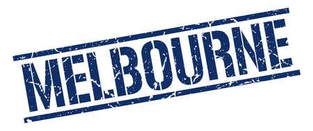 melbourne: Melbourne blue square stamp Illustration