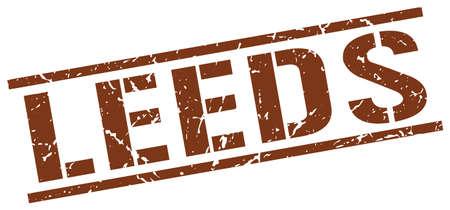 leeds: Leeds brown square stamp Illustration