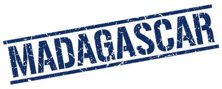 madagascar: Madagascar blue square stamp