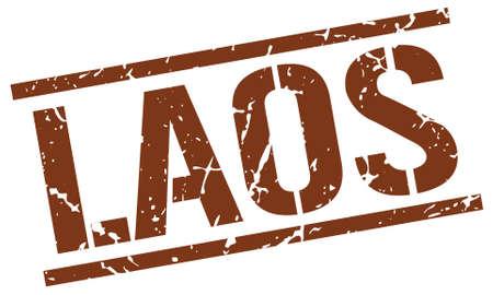 laos: Laos brown square stamp