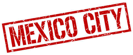 mexico city: Mexico City red square stamp