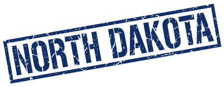 north dakota: North Dakota blue square stamp Illustration