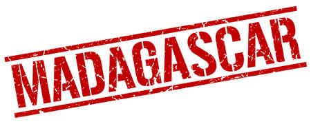 madagascar: Madagascar red square stamp