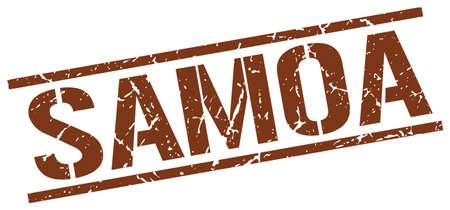 samoa: Samoa brown square stamp Illustration
