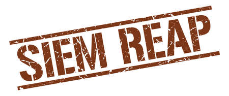 siem reap: Siem Reap brown square stamp