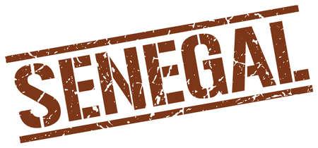 senegal: Senegal brown square stamp