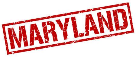 maryland: Maryland red square stamp Illustration