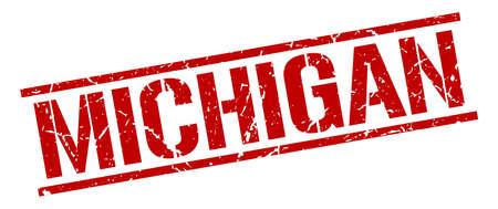 michigan: Michigan red square stamp
