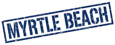 myrtle beach: Myrtle Beach blue square stamp