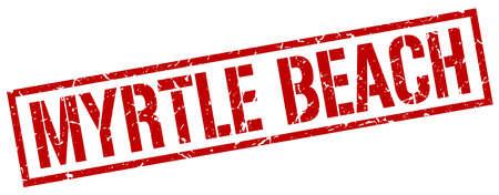 myrtle beach: Myrtle Beach red square stamp