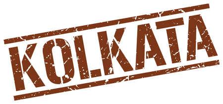 kolkata: Kolkata brown square stamp Illustration