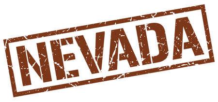nevada: Nevada brown square stamp