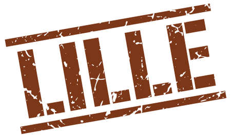 lille: Lille brown square stamp Illustration