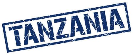 tanzania: Tanzania blue square stamp Illustration