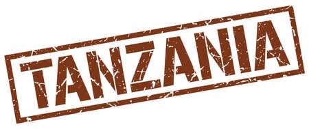 tanzania: Tanzania brown square stamp Illustration