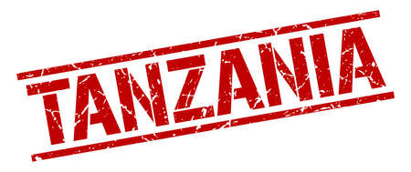 tanzania: Tanzania red square stamp