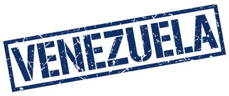 venezuela: Venezuela blue square stamp Illustration