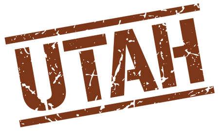 utah: Utah brown square stamp