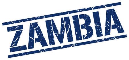 zambia: Zambia blue square stamp Illustration