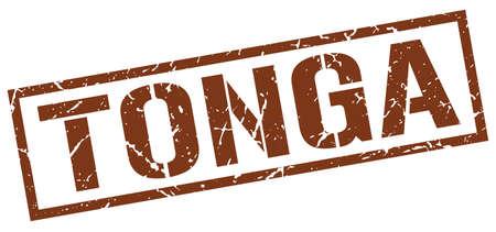 tonga: Tonga brown square stamp