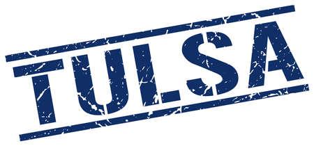 tulsa: Tulsa blue square stamp