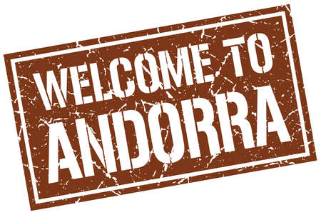 andorra: welcome to Andorra stamp