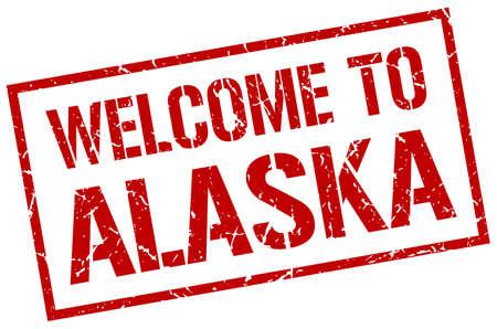 alaska: welcome to Alaska stamp