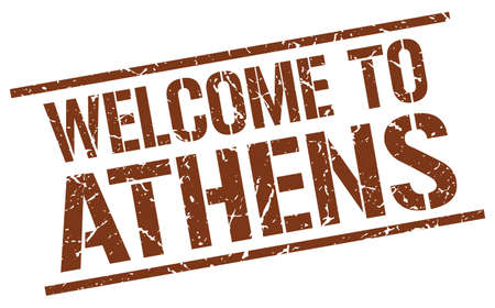 athens: welcome to Athens stamp
