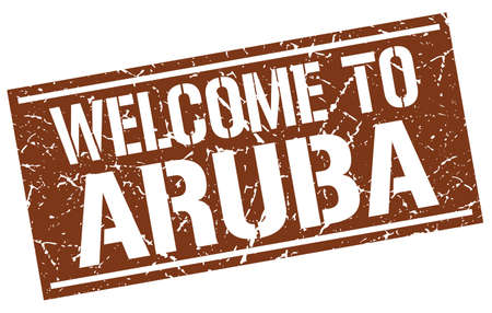 aruba: welcome to Aruba stamp Illustration