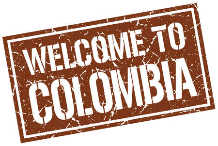 colombia: welcome to Colombia stamp Illustration
