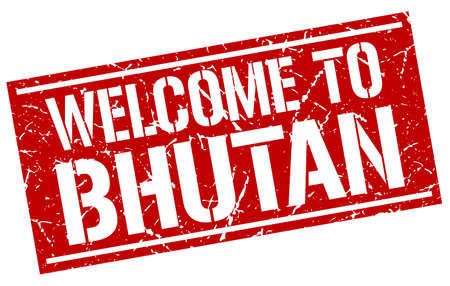 bhutan: welcome to Bhutan stamp