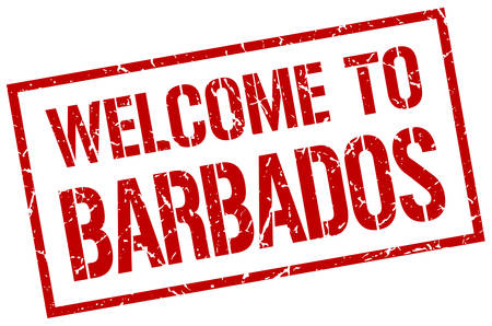 barbados: welcome to Barbados stamp