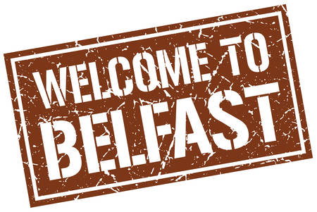 belfast: welcome to Belfast stamp Illustration