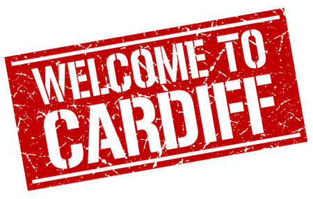 cardiff: welcome to Cardiff stamp Illustration