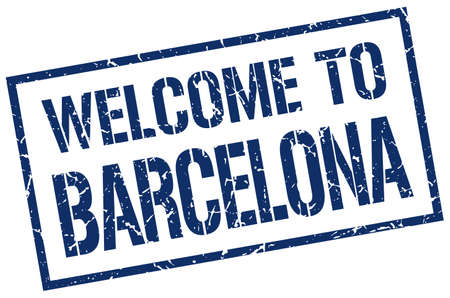 barcelona: welcome to Barcelona stamp