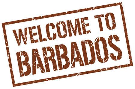 barbados: welcome to Barbados stamp