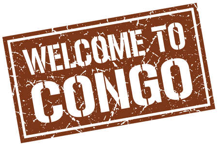 Congo: welcome to Congo stamp Illustration