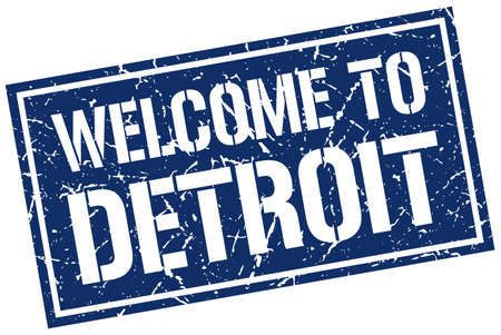 detroit: welcome to Detroit stamp