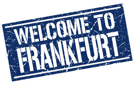 frankfurt: welcome to Frankfurt stamp Illustration
