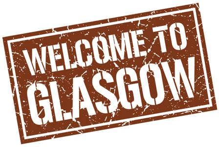 glasgow: welcome to Glasgow stamp Illustration