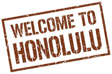 honolulu: welcome to Honolulu stamp