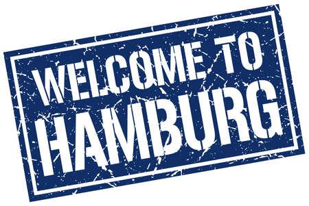 hamburg: welcome to Hamburg stamp Illustration
