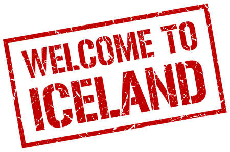 iceland: welcome to Iceland stamp