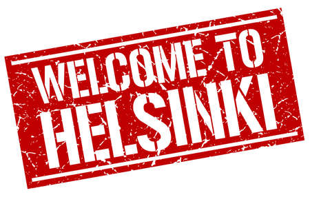 helsinki: welcome to Helsinki stamp Illustration