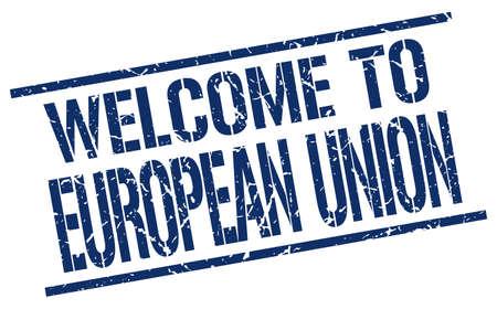 european union: welcome to european union stamp Illustration