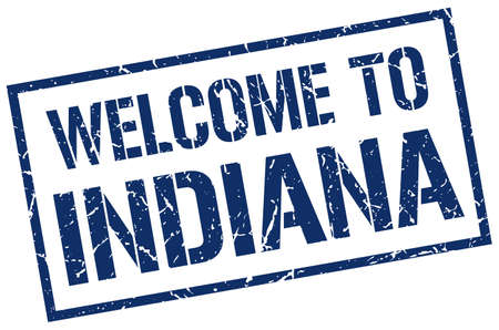 indiana: welcome to Indiana stamp