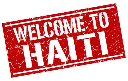 haiti: welcome to Haiti stamp Illustration